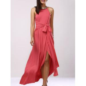 Backless Bridesmaid Prom Halter Swing Long Dress