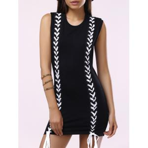 Brief Round Collar Lace-Up Sleeveless Dress For Women - Black - Xl