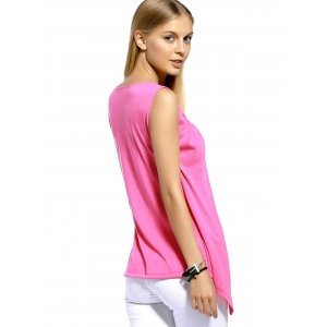 Layered Split Front Casual Tank Top - PINK XL