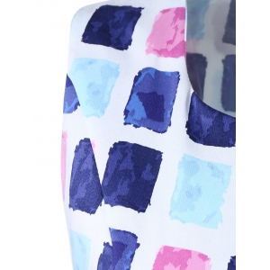 Colorful Diamonds Print Sleeveless Dress -