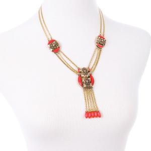 Faux Gem Layered Hollow Out Necklace -