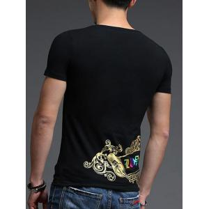 Abstract Golden Printing Slimming Round Neck Short Sleeves T-Shirt For Men -