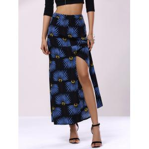 High Waist Floral Print Front Slit Maxi Skirt - Black - Xl