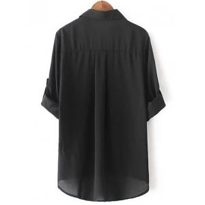 Casual Long Sleeve Pocket Design Black Blouse -
