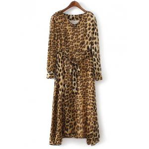 Stylish V-Neck Long Sleeve Belt-Tie Leopard Print Dress -