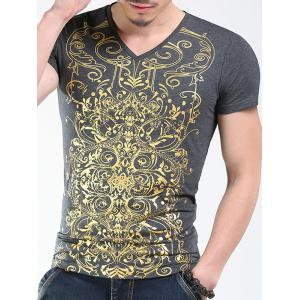 Trendy V-Neck Golden Printing Slimming Short Sleeves T-Shirt For Men -