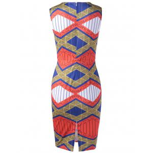 Ethnic Style Fitted V-Neck Geometric Print Dress For Women -
