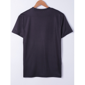 Fashionable Short Sleeves Round Neck Oil Painting Printing T-Shirt For Men - BLACK L