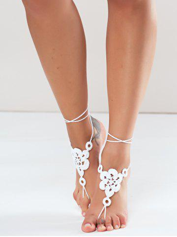 Shops Pair of Vintage Solid Color Floral Woven Sandal Toe Ring Anklet - WHITE  Mobile