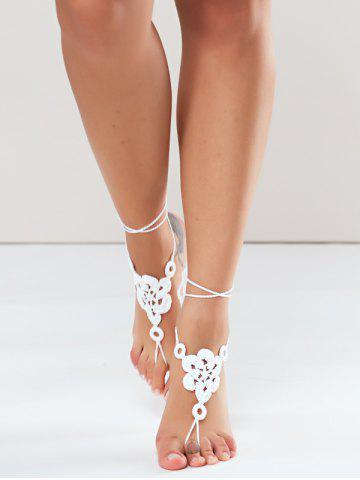 Online Pair of Vintage Solid Color Floral Woven Sandal Toe Ring Anklet - WHITE  Mobile