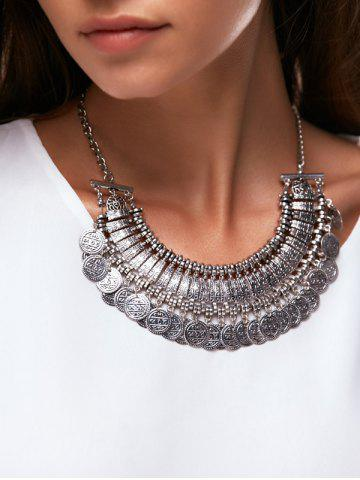 Affordable Coin Tassel Carved Statement Necklace