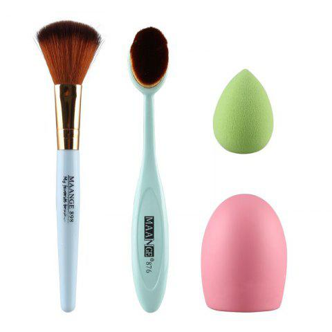 Outfit Stylish 4 Pcs/Set Blush Brush + Powder Brush + Powder Puff + Brush Egg GREEN