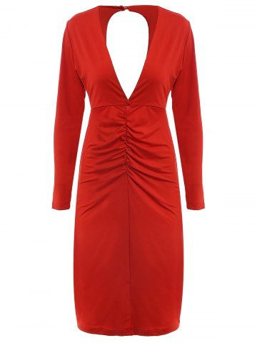Trendy Women's Chic Long Sleeve Plunging Neck Cut Out Pure Color Dress