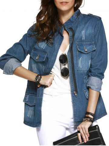 Store Pockets Decorated Wash Casual Denim Jacket Coat