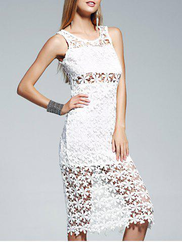 Fashion Sheer Lace Crochet See Thru Midi Dress