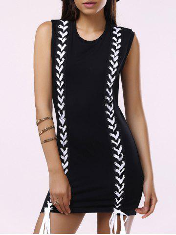 Shop Brief Round Collar Lace-Up Sleeveless Dress For Women BLACK L