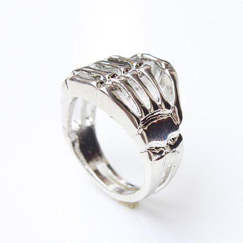 Store Vintage Skull Hand Ring - ONE SIZE SILVER Mobile