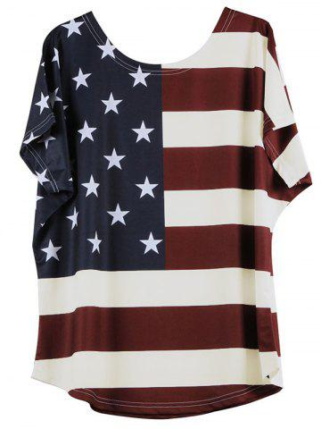 Distressed American Flag Short Sleeve T-Shirt - Off-white - 5xl