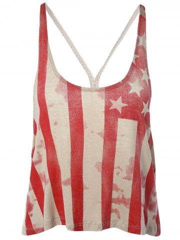 Outfit Stylish Backless American Flag Print Spaghetti Strap Top For Women