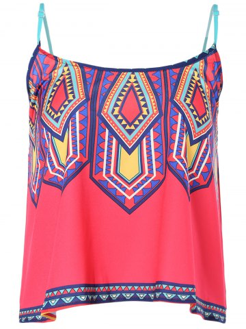 Discount Ethnic Style Spaghetti Strap Print Top For Women