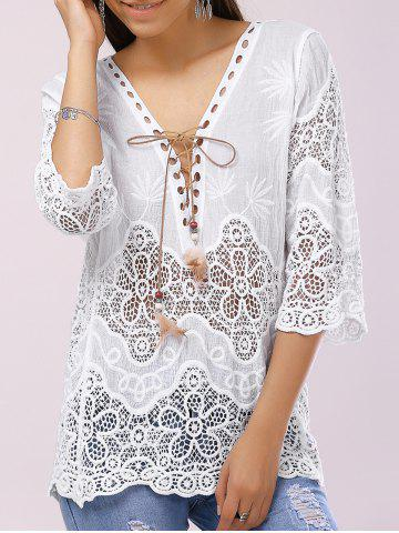 Outfit Stylish V-Neck Lace-Up 3/4 Sleeve Crochet Panelled Blouse For Women