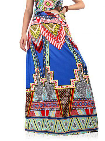 Outfits Ethnic High Waist Geometric Print Skirt For Women