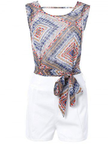 Sale Geometric Print Tie Front Sleeveless Blouse + White Shorts Twinset For Women
