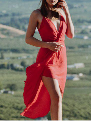 Sexy Style Spaghetti Strap Solid Color Asymmetric Women's Dress - Red - M