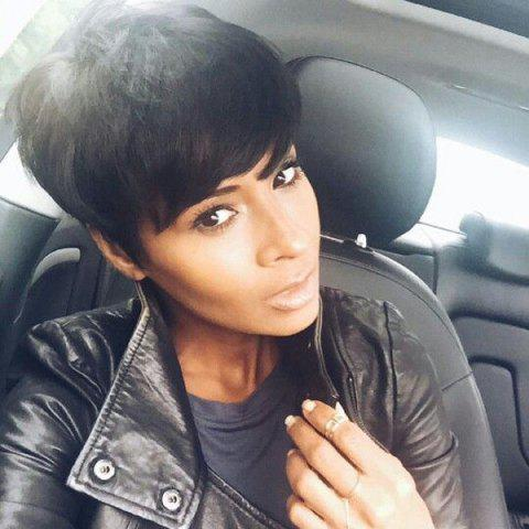 Shops Fashion Spiffy Short Towheaded Side Bang Jet Black Capless Real Human Hair Wig For Women