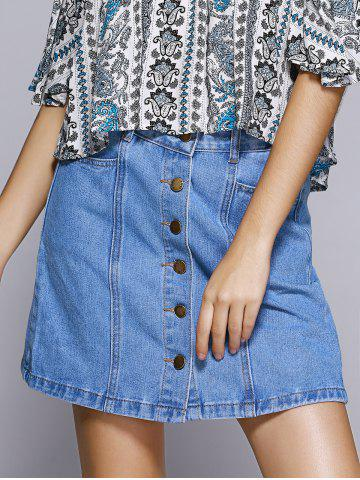 Affordable Sweet Denim A-line Button Through Mini Skirt For Women