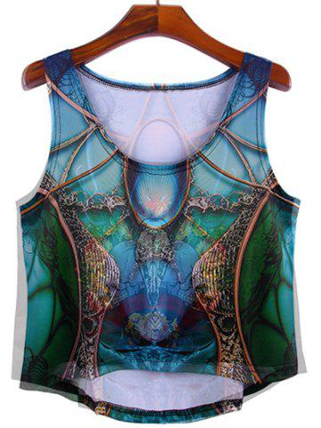 Shop Trendy Women's Scoop Neck Print Asymmetric Tank Top