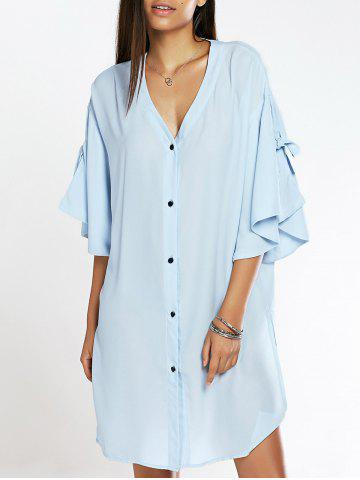 Cheap Fashionable Ruffles Sleeve Side Slit Shirt Dress For Women
