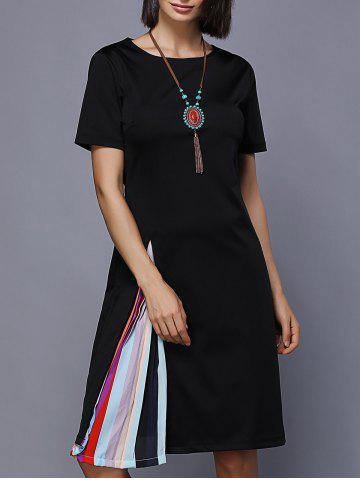 Hot Colorful Splicing Jewel Neck Dress