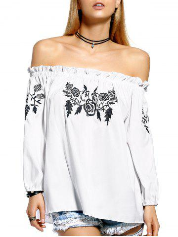 Chic Sweet Floral Embroidered Off The Shoulder Women's Blouse