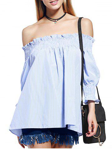 Shop Alluring Off The Shoulder Striped Women's Shirred Blouse