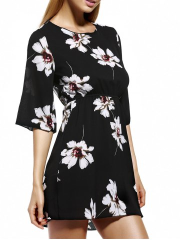 Fashion Ladylike Elastic Waist Floral Women's Print Dress