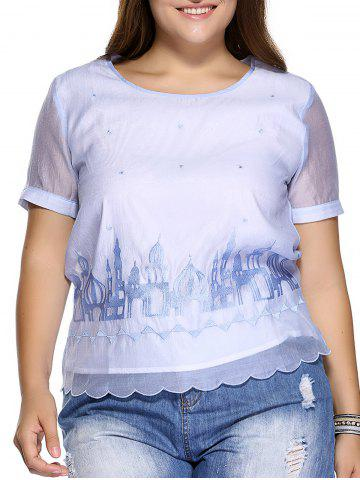 Shop Sweet Plus Size Castle Pattern Embroidered Organza Blouse