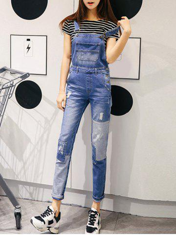 Fashion Strap Patch Spliced Denim Ripped Jumpsuit