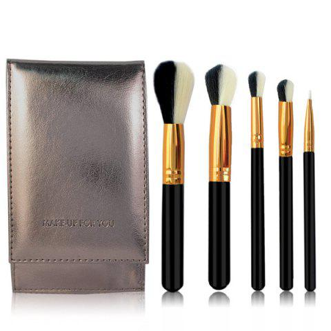 Fashion Stylish 5 Pcs Artificial Fiber Face Eye Makeup Brushes Set with Brush Package