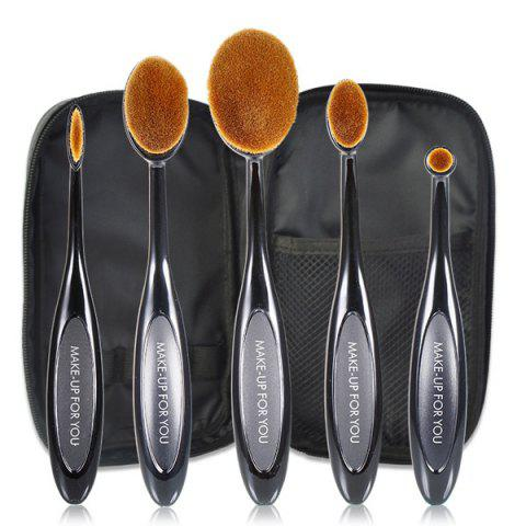 Cheap 5 Pcs Oval Toothbrush Shape Fiber Makeup Brushes Set with Brush Package