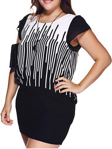 Sale Chic Plus Size Hit Color Striped Mini Dress