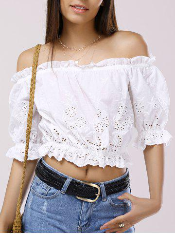 Online Off The Shoulder 3/4 Sleeve Crop Top Blouse WHITE XL