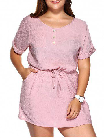 Store Casual Plus Size Drawstring Cuffed Sleeve Dress