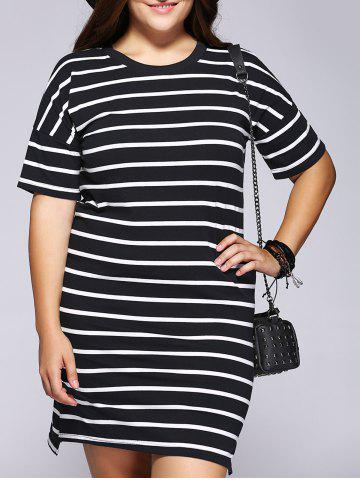 Fashion Casual Plus Size Striped Side Slit Shift Dress