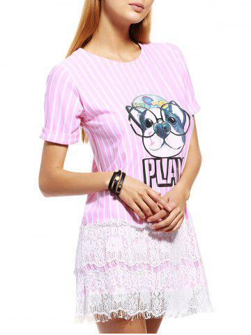 New Casual Puppy Striped Lace Spliced Women's T-Shirt Dress