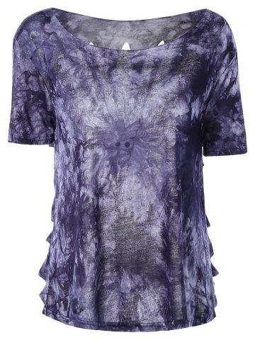 Best Stylish Round Neck Tie-Dyed Short Sleeves Top For Women