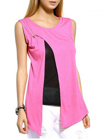 Unique Layered Split Front Casual Tank Top PINK M
