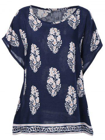 Trendy Ethnic Style Print RoundNeck Short Sleeves Top For Women