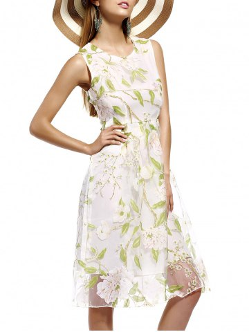 Shop Refreshing Floral Print Tulle Overlay Women's Dress