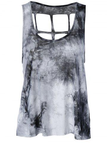 Latest Stylish Scoop Neck Tie-Dyed Tank Top For Women